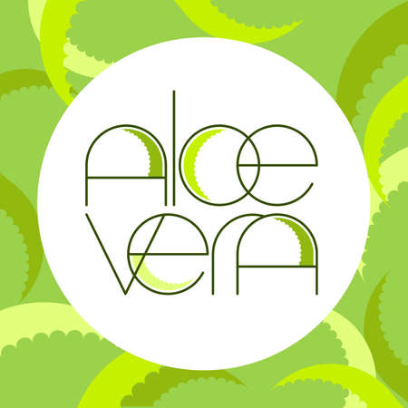 Aloe vera frame.  Green leaf aloe vera label. Design template. 矢量图像