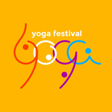 Yoga festival logo emblem.  Template for poster, banner, print, t-shirt, label, web, sign.