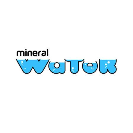 WATER mineral. Unique font lettering for design. Ilustração
