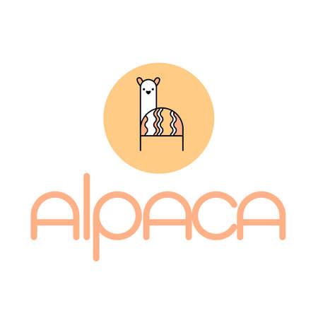 Alpaca, llama, lama. Animal logo template. Wool label and design element. Ilustrace