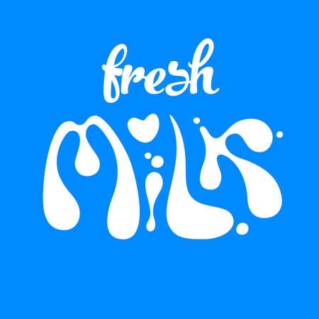 Fresh milk logo design template. Milk hand written lettering logo, label or badge. Design elements for grocery, farm, store, packaging and advertising.