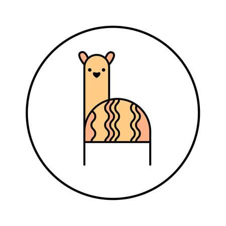 ALPACA ICON. Llama, lama isolated. Abstract illustration template.