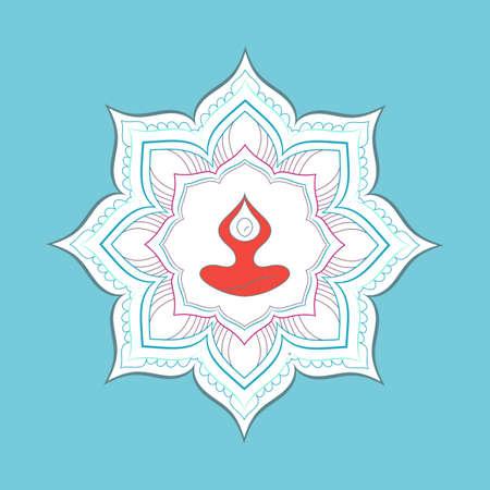 Yoga Retreat and Meditation template. Design Yoga Poses with Mandala Ornament.