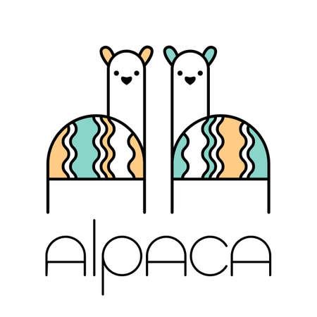 Alpaca Lama template. Cute animal couple. Ilustrace