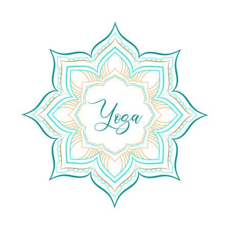 Yoga mandala - template. Vector illustration Yoga Retreat and Meditation sign.