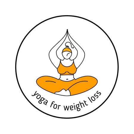 Yoga for weight loss. Healthy life  design illustration. Woman doing yoga exercise.  template.