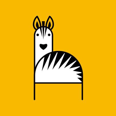 Zebra. Design template for   banner, label, sign, print, t-shirt, emblem and etc.