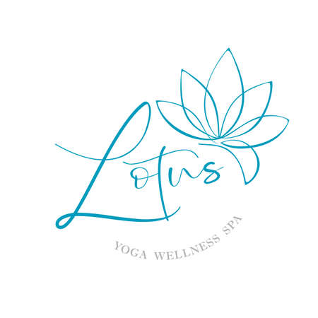 LOTUS. Yoga wellness spa.  template. Standard-Bild - 129186741
