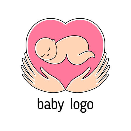 Baby Cute Design template for kids store, center, packaging, clothes, company making child good.