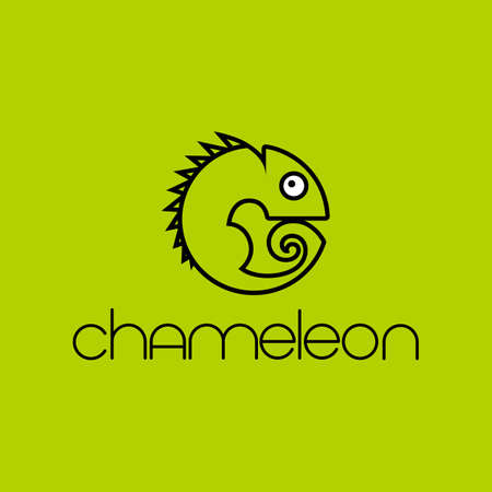 CHAMELEON.  Design.  Animal symbol. Simple vector illustration for graphic and web design.