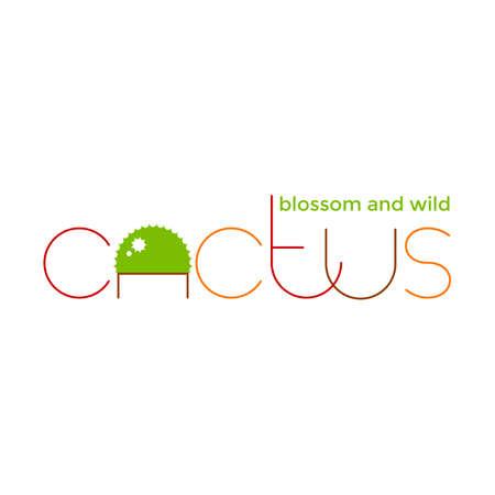 Round cactus with flower design. Ilustração