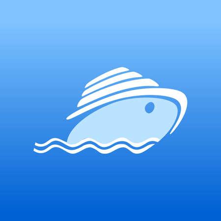 Cruise ship symbol icon illustration. Ocean Ship - sign concept. 일러스트