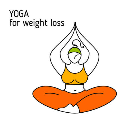 Yoga for weight loss. Healthy life  design illustration. Woman doing yoga exercise.