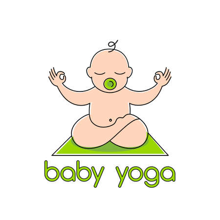 BABY YOGA.  design template  - emblem, sticker or badge for kids activity class.