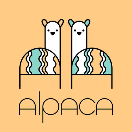 Alpaca Llama template. Cute animal couple.  Wool label and design element.