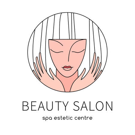 BEAUTY SALON. Beauty Women face silhouette character   Template. SPA, Fashion, Makeup, Hairdressing   concept icon linear style.
