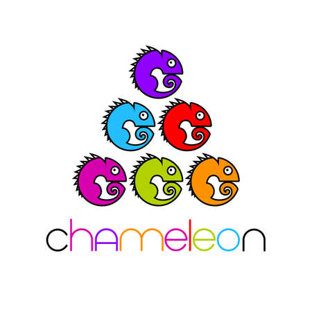 Chameleon   Design template. Colorful Symbol Illustration.  イラスト・ベクター素材