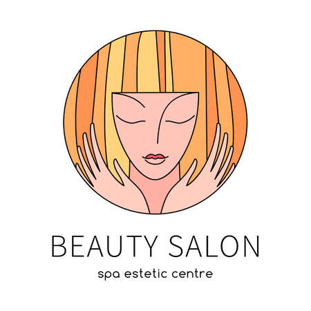 Beauty salon. An elegant  for beauty, fashion and hairstyle related business. Easy to change color, size and text.