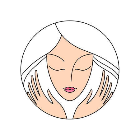 BEAUTY SALON. Beauty Women face silhouette character   Template. SPA, Fashion, Makeup, Hairdressing Logotype concept icon linear style.
