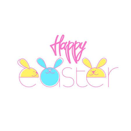 Happy Easter greeting card. Vector illustration. Ilustração