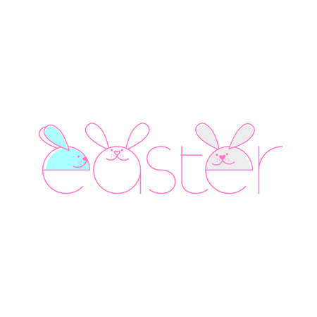 Happy Easter logotype, badge typography icon. Lettering Happy Easter with rabbit for greeting card, invitation template.