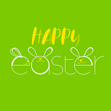 Cute easter bunny vector illustration. Greeting card with Happy Easter writing.