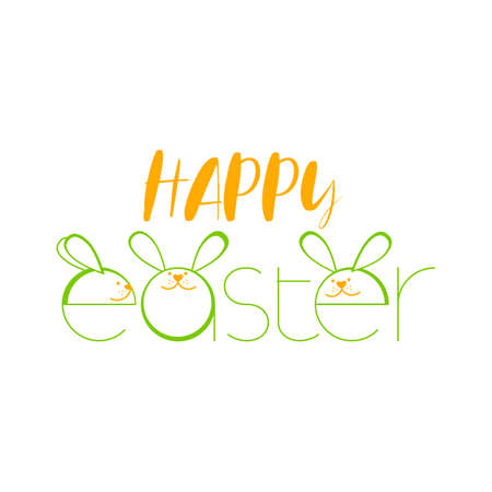 HAPPY EASTER. Cute easter bunny vector illustration. Greeting card.