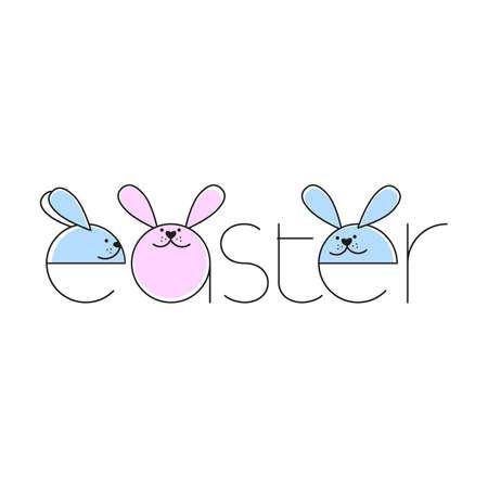 Creative Easter Background With Rabbit. Vector illustration. Design template. Ilustração