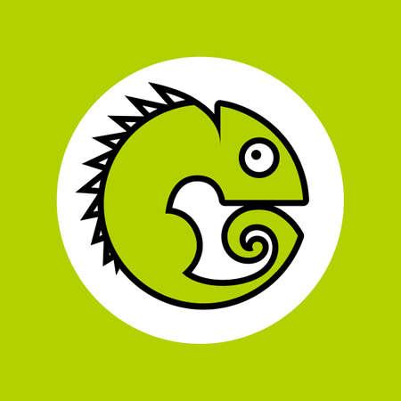 Chameleon. Animal symbol. Simple illustration for graphic and web design.