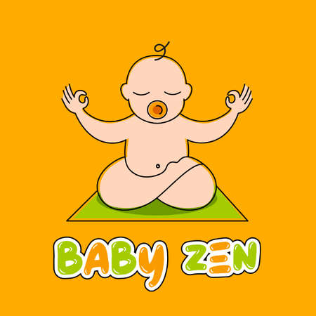 Design template - little baby doing yoga - love and care concept - emblem, icon, banner, sticker or badge for kids activity class.