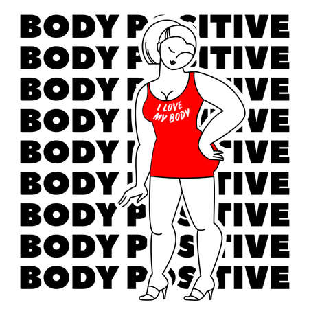 Body positive. Vector illustration. illustration Çizim