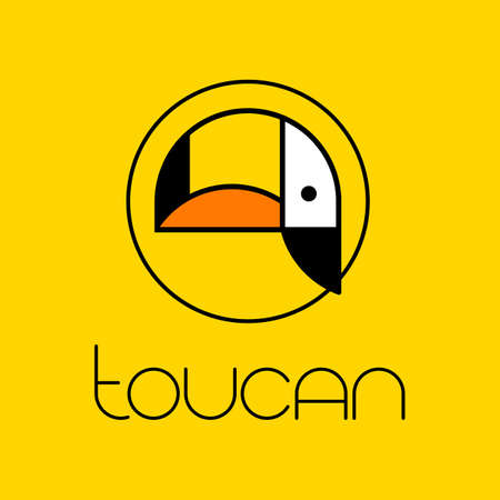 Toucan bird cartoon character. Cute toucan flat vector. Wild animal illustration for zoo ad, nature concept, children book illustrating, logotype template.