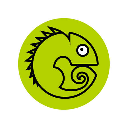 Chameleon. Animal symbol. Lizard pictogram, vector sign isolated. Simple illustration for graphic and web design.
