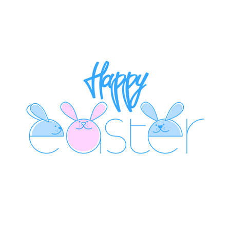 Happy Easter Typographical Background With Rabbit.