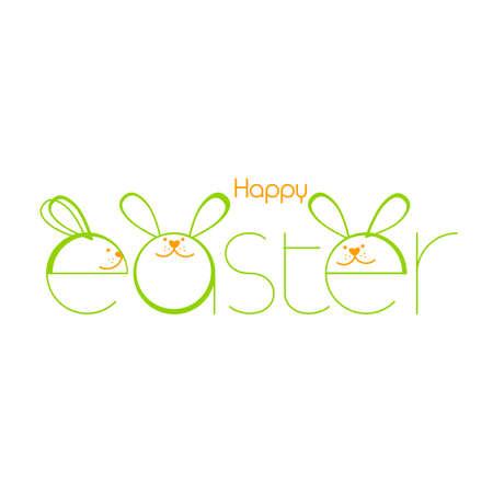 Creative Easter Background With Rabbit. Vector illustration. Design template. Çizim