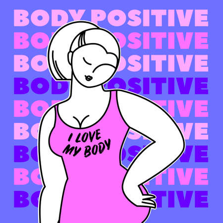 Love your body - body positive. Happy Women of different figure type. Vector illustration. Çizim