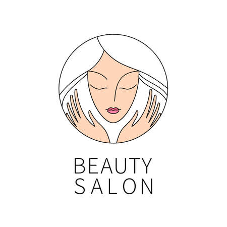 Beauty salon. An elegant icon for beauty, fashion and hairstyle related business. Easy to change color, size and text.