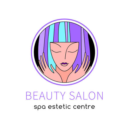 Beauty Hairdresser salon Woman icon design  template circle shape. SPA, Fashion, Makeup, Hairdressing girl Logotype concept icon linear style.