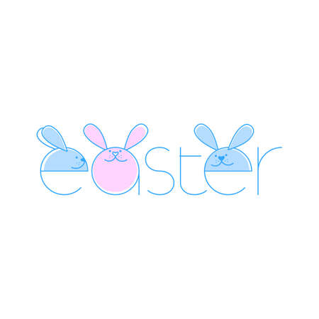 Greeting card with Happy Easter writing. Happy Easter Typographical Background With Rabbit.