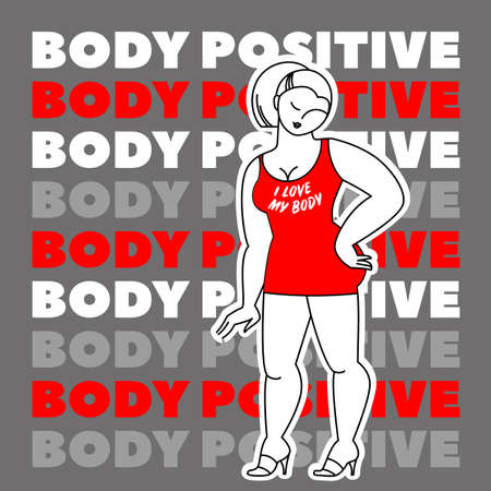 Love Your Body. Body positive movement and beauty diversity. Vector illustration. Çizim