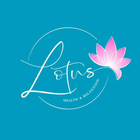 LOTUS. Health and relaxation. Lotus flower logotype design. Ilustracja