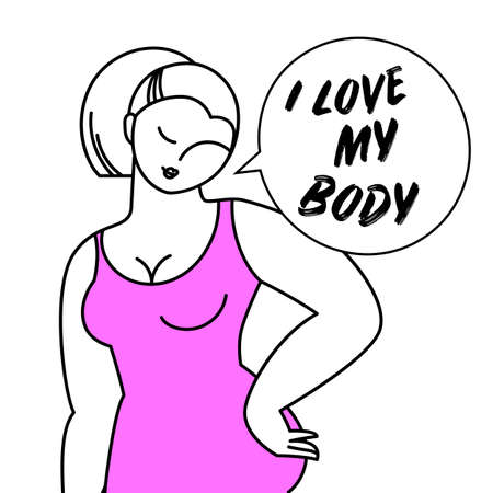 Love Your Body Positive Design Banner Template.  Vector illustration.