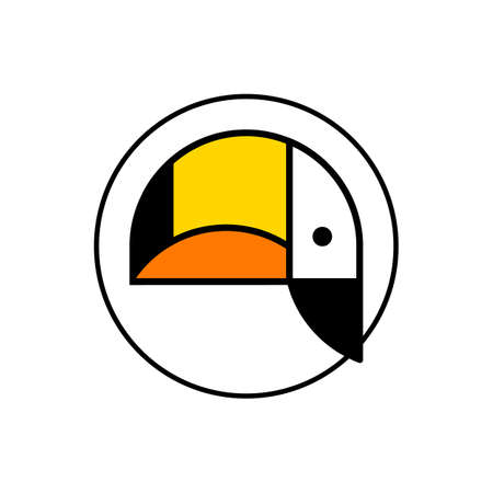 Tropical bird icon. Clean shape toucan bird head