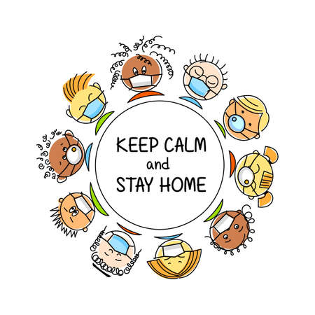 People of different nationalities in medical masks. Keep calm and stay home. Save health concept, stop pandemic. Cartoon vector illustration.  Çizim