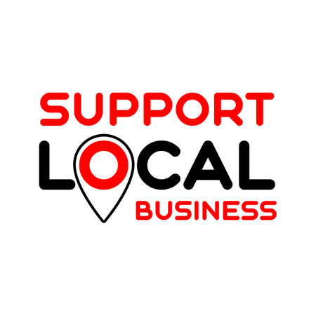 Pinpoint support. Symbol of local support for production, business, companies. Template for poster, banner, signboard, web, card, sticker. Business help and support locally. Çizim