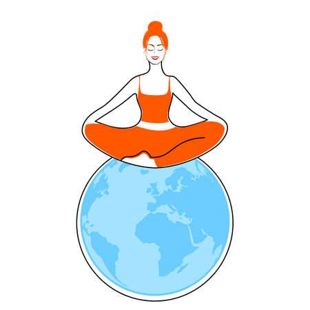 Keep calm & meditate. Woman meditating on the globe. Concept illustration for yoga, meditation, relax, recreation, healthy lifestyle. Vector illustration.