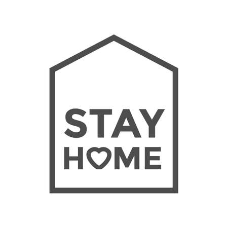 Stay home. Isolated icon. Covid19 signs. Staying at home during a pandemic print. Home Quarantine illustration. Keep calm and stay home concept vector illustration.
