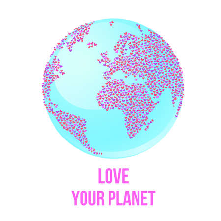 Love your planet. World of Love! Continents of hearts. Concept for poster design.