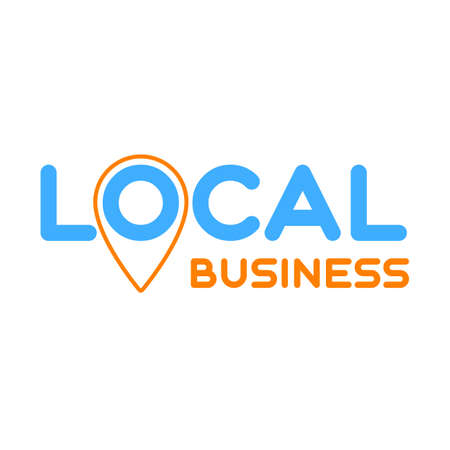 Local business. Symbol of local production, business, company. Template for poster, banner, signboard, web, card, sticker. Business locally.
