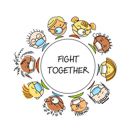 Fight together. People of different nationalities in medical masks. Stop coronavirus. Together stop pandemic. Save health concept, stop pandemic.